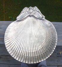 Vintage Arthur Court Metal Seahorse Shell Nautical Serving Plate Platter Dish