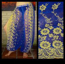 Harem Pants Belly Dance Blue w/ Gold Brocade Slit 1
