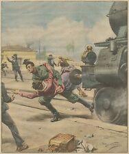 K1235 Stazione di San Romano - Milite fascista salva donna - Stampa - 1934 print