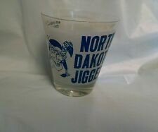 North Dakota Jigger Shot Glass Indian Novelty Barware Funny Blue White Frosted