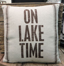 On Lake Time -Cabin - Lake House  - Primitives By Kathy Throw Pillow