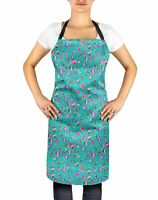 S4Sassy Green Magnolia Bud Floral Apron with Adjustable Neck For-IQF
