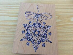 "All Night Media  w/m Rubber stamp. Snowflake Ornament. 4.""x 3""."