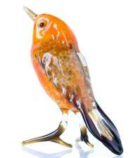 Orange Bird Glass Figurine, Blown Glass Art, Woodland Robin Bird Miniature