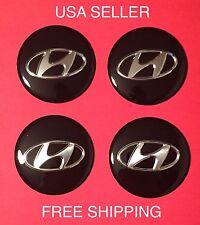 HYUNDAI 4Pcs Black 65mm Domed Car Emblem Wheel Center Hub Cap Decals Stickers