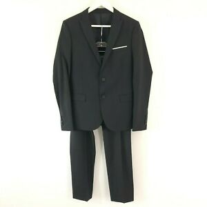 The Kooples Super 100 Black Wool Fitted Suit Jacket & Trousers Set Size UK 36 38