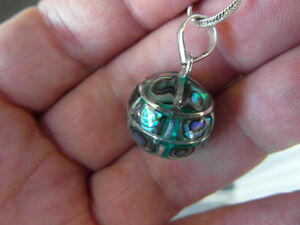 Balinese Sterling Silver & Paua Abalone shell 15mm harmony ball pendant & chain