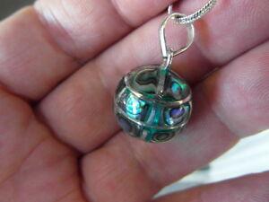 Balinese Sterling Silver & Paua Abalone shell 15mm harmony ball pendant & chain