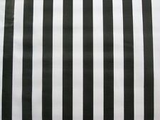 BLACK WHITE CABANA RAILROAD JAIL REF STRIPE DINE OILCLOTH VINYL TABLECLOTH 48x60