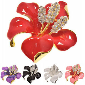Hot Lady Gorgeous Enamel Brooch Rhinestone Crystal Lily Flowers Brooches Pin _CL
