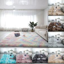 Fluffy Soft Anti-Slip Shaggy Rug Dining Room Bedroom Carpet Floor Mat Grey Blue