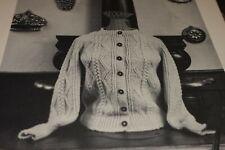 """Vintage Candide Knitting Pattern 42 Aran Raglan Cardigan 33-45"""""""