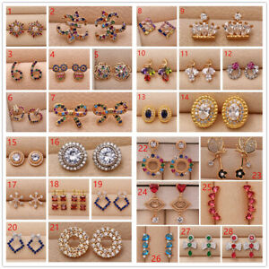 18K White / Gold Filled - Flower Hollow Heart Rhombus Colorful Gemstone Earrings
