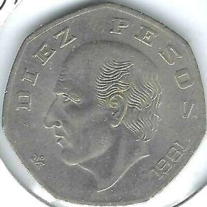 1981 Mexico Uncirculated 10 Pesos - Miguel Hidalgo Cotilla -7 Sided Coin