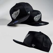 New 47 Brand Black NHL Rope Cap Flat Bill Detroit Red Wings Visor Baseball Hat