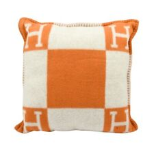 Hermes Cushion Avalon I PM Signature H Orange Throw Pillow