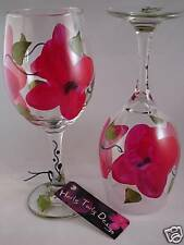 2 Hand-Painted Classy Red Flower Wine Glasses