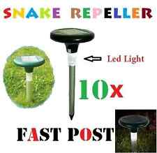10 X Snake Repeller Solar Powered Panel LED Light Pest Multi Pulse Energiser