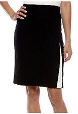 Nine West OPENING NIGHT Black/Ivory Pearl Colorblock Crepe Skirt, 4R - MSRP $79
