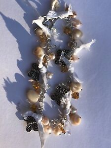 beautiful vintage inspired real pearl bracelet with white ribbons
