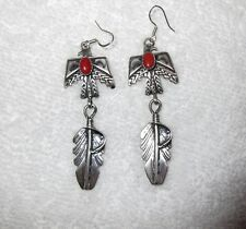 Navajo Thunderbird Earrings Emer Thompson Sterling Silver Coral Long Dangle