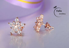 Rose Gold Snowflake Stud Earrings 925 Sterling Silver Womens Jewellery Lady Gift