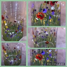 Wild Flowers Cylinder Vase Hand Painted Personalised Gift Any Occasion