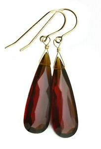 14k Solid Gold Red Garnet sim earrings long large faceted teardrops Sterling 1.8