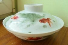 ancien bol  couvert decor poissons  chine ?wiet japan ??asia china