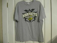 t-shirt gray hornets softball gildan heavy cotton extra large 100% cotton