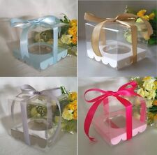12/25/50/60/100 Clear 9 cm PVC Single Cupcake Boxes Wedding Favour Christening
