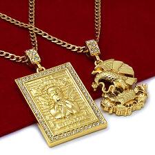 "14K Gold Plated St Steel Chain 24""/30"" Malverde/Eagle Pendants Set 56/74"