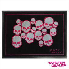 Totenkopf Fußmatte / Design-Fußmatte / Pink / 50 cm * 70 cm  / Gummirand