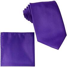 New Men's extra long necktie & hankie set solid Purple wedding formal big tall