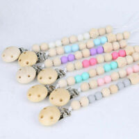 Natural Wooden Round Beads Baby Teething Dummy Pacifier Clip Chain Soother Toy