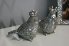 Pair of Antique Silver Bird With Crown Decorations- Set of 2 Birds