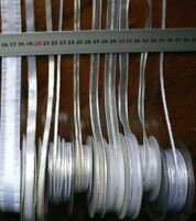 Sheer & Satin WHITE Ribbon Metallic 4-24mm Wide 3&5 Metres 6 Styles Choice HT2A
