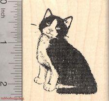 Tuxedo Cat Rubber Stamp, Black and White, Bib and Mitts  J3720 WM