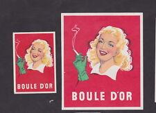 Anciennes étiquettes allumettes Belgique BN23806 Cigarettes Boule D'or Femme 3