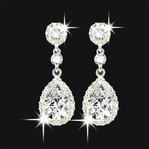 Silver Crystal Rhinestone Big Long Drop Dangle Diamante Bridal Wedding Earrings