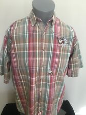 Warner Bros Mens Shirt Plaid Bugs Bunny Taz Devil Fishing Size Large