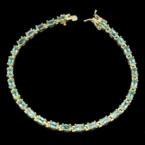Oval Apatite Neon Blue 5x3mm 14K Gold Plate 925 Sterling Silver Bracelet 7inches