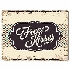 PP3719 Rustic free Kisses Valentine's Day Gift Plate Home Cafe Wall Decor Sign