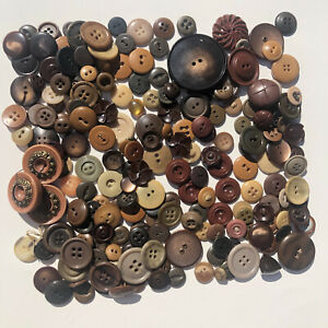 Vintage Earth Tone Brown Green Butterscotch Tan Mixed Plastic Button Lot 100+