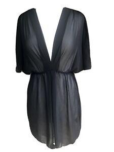 Black Sheer Beach Swimsuit Cover Up Tunic Dress BISOU BISOU Michele Bohbot M
