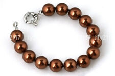 Pretty 8/10/12/14mm South Sea Brown Shell Pearl Round Beads Bracelet 7.5'' AAA