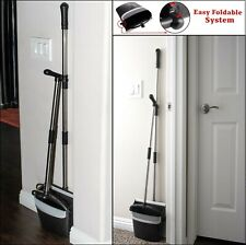 Dust Pan and Broom Set Cleans Combo Extendable Dustpan Rotatable Stand Up