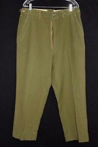 VINTAGE 1950'S HEAVY GREEN WOOL MILITARY PANTS  34 INCH WAIST 28 INCH INSEAM