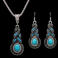 Elegante retro turquesa Dangel gancho aretes & collar de joyería conjunQA