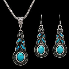 Hot Charm Elegant Retro Turquoise Dangel Hook Earrings & Necklace Jewelry Set EW